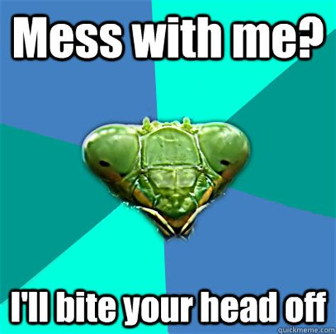 Mantis Meme - mess with me ill bite your head off crazy girlfriend
