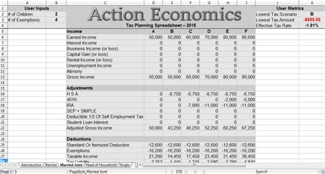 Tax Spreadsheet by Reduce Taxes Economics