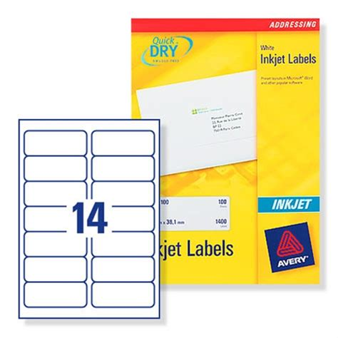 address label template 16 per sheet avery quickdry inkjet address labels 14 per sheet 99 1 x 38 1mm white j8163 25 pack of 350