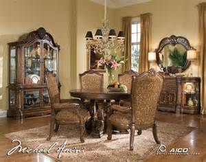 Aico Dining Room by Michael Amini Windsor Court Fruitwood Traditional Round