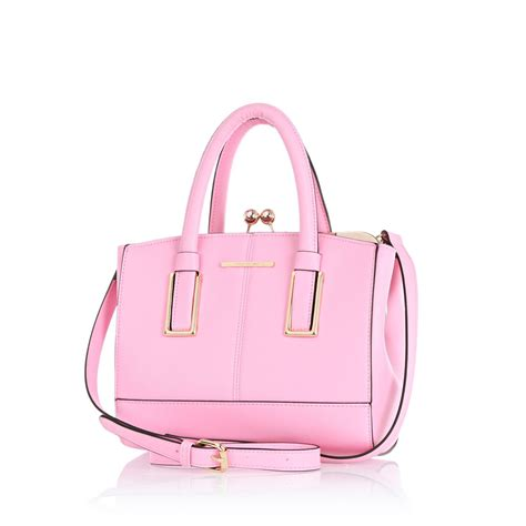 light pink tote bag river island light pink mini structured tote bag in pink