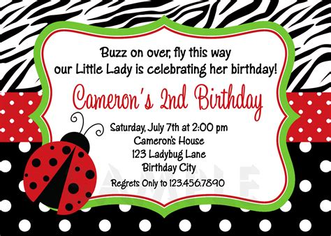 Ladybug Birthday Card Template by Printable Birthday Invitations Ladybug