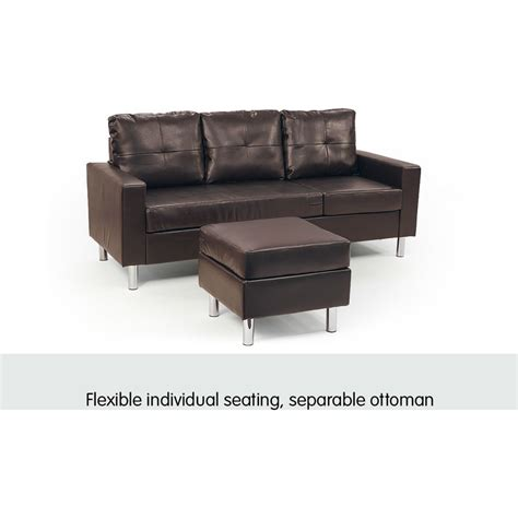 leather lounge sofa bed 3 seater pu leather couch w chaise lounge in brown buy