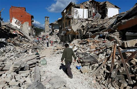 earthquake latest photos of flattened historic italian towns after