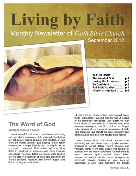 Living By Faith Church Newsletter Template Newsletter Templates Free Church Newsletter Templates