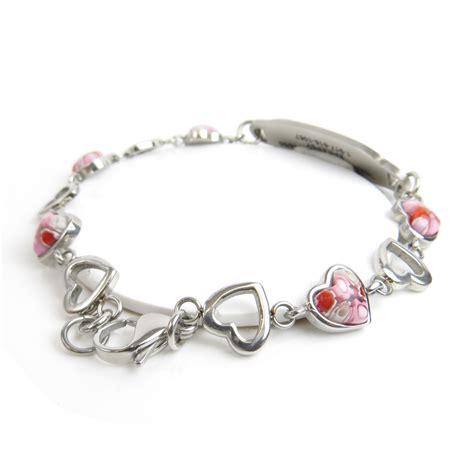 health bracelet fashion jewelry id bracelet pink millefiori