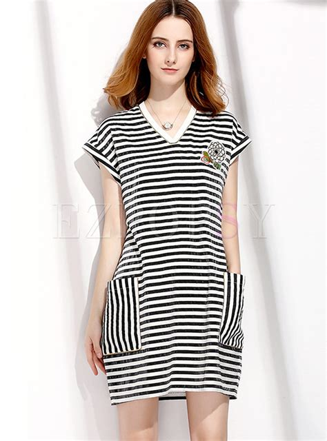 Stripe Pocket Casua Casual Monochrome Stripe Pocket T Shirt Dress Ezpopsy