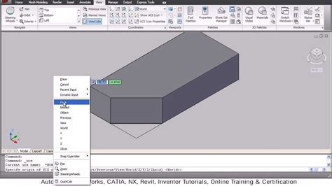 autocad tutorial with commands autocad 3d ucs command tutorial autocad 2010 youtube
