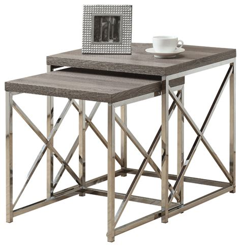 nesting table 2 set cappuccino with chrome metal