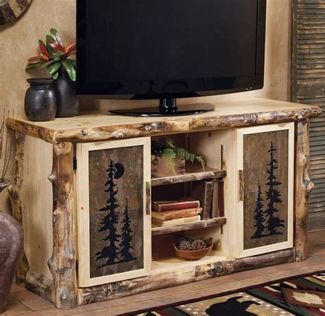Rustic Living Room Tv Stand Log Tv Console Stand W Tile Inserts Country Rustic Wood