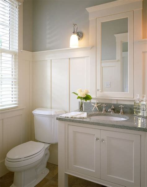 Wainscoting Bathroom Vanity white vanity with grey granite top wainscoting beige floors bathrooms grey