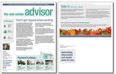 Real Estate Advisor Newsletter Template Issue 6 Real Estate Newsletter Templates