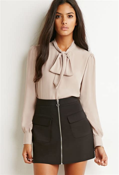 Bow Neck Blouse by Lyst Forever 21 Bow High Neck Blouse In