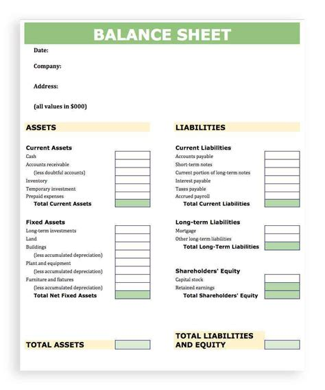accounting balance sheet template excel balance sheet
