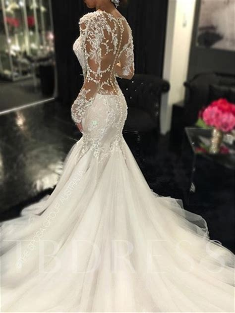 appliques for wedding dresses appliques mermaid wedding dress with long sleeve tbdress