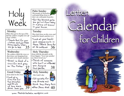 Lent Calendar Lenten Calendar For Children The Bulletin