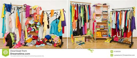 Tidy Home Cleaning wardrobe before messy after tidy stock photo image