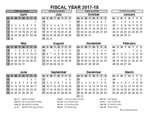 Calendar 2017 And 2018 Uk 2017 2018 Fiscal Calendar Uk Template Free Printable