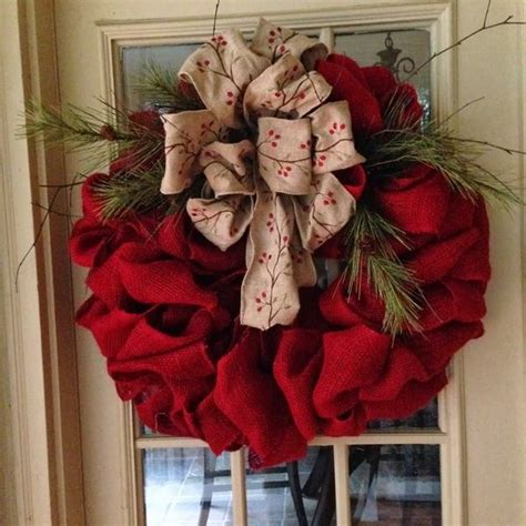 burlap wreath how to wreaths pinterest diy burlap christmas wreath ideas red burlap large bow