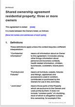 Shared Ownership Agreement For A Residential Property Fractional Ownership Agreement Template