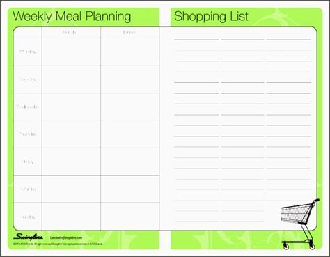 8 weekly meal planner editable sletemplatess