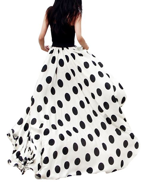 charming chiffon polka dot pattern maxi skirt black