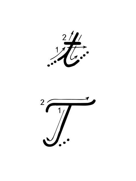 lettere alfabeto in corsivo maiuscolo e minuscolo lettere e numeri lettera t con indicazioni movimento