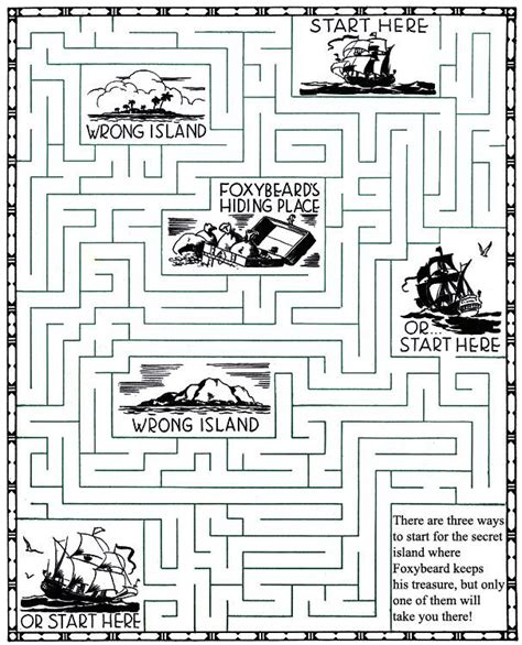 printable hidden picture mazes foxybeard pirate maze puzzle brain games mazes