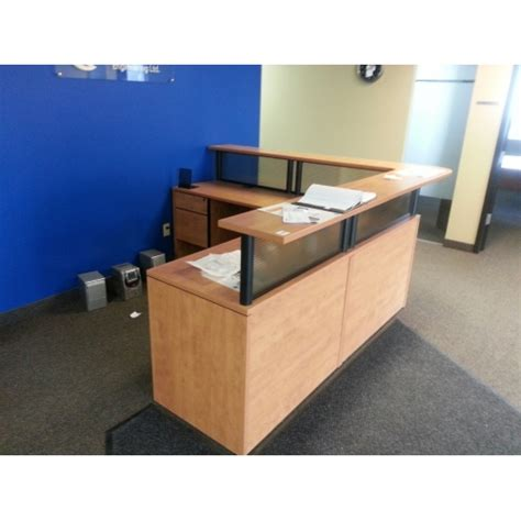 Reception Desk With Transaction Counter Sugar Maple L Suite Reception Desk W Transaction Counter Allsold Ca Buy Sell Used Office