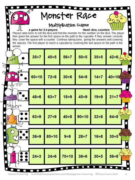 printable math division board games fun games 4 learning freebies