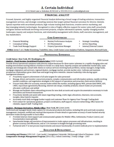 job resume financial analyst resume sle financial