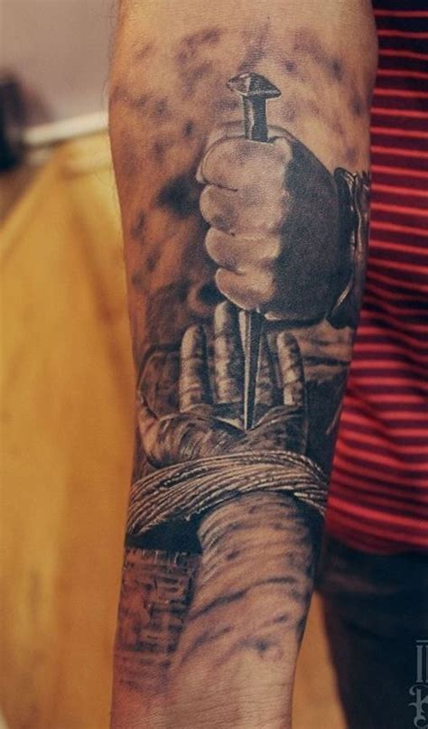 tattoo jesus forearm awazing hand of jesus nailed forearm tattoo tattoos