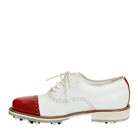 white leather golf shoes handmade with cup toe