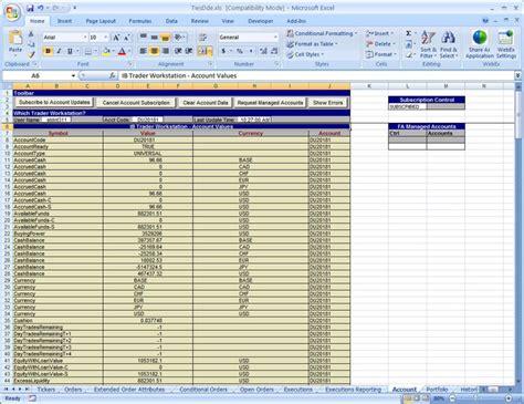 Interactive Excel Spreadsheet by Interactive Brokers Excel Api Exle