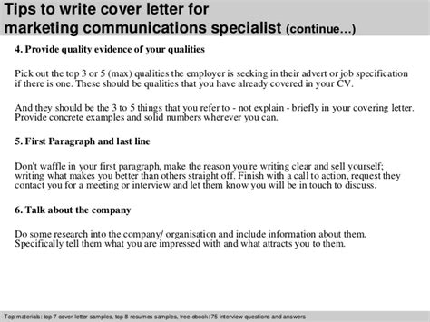 cover letter for communications specialist marketing communications specialist cover letter