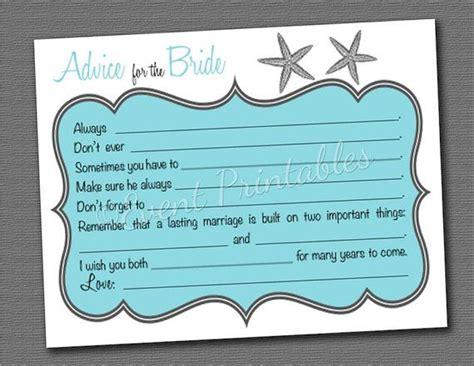 Wedding Advice Cards Printable by Starfish Bridal Shower Mad Libs Printable Diy