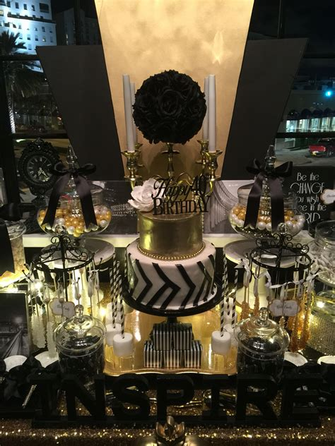 black white  gold candy buffet   glamorous  tier