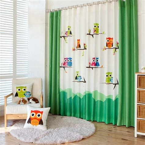 2016 cartoon owl printed kids curtain for baby room pastoral cartoon owl kids room curtain window curtain for