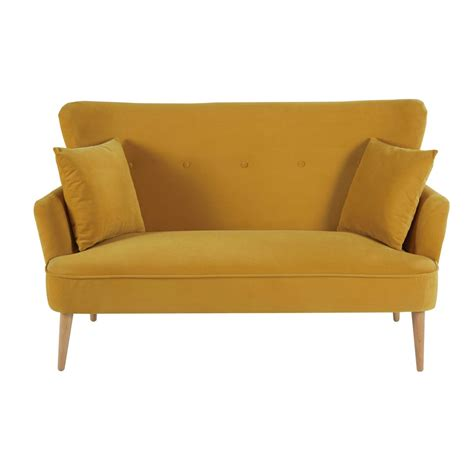 yellow velvet sofa mustard yellow 2 seater velvet sofa leon maisons du monde