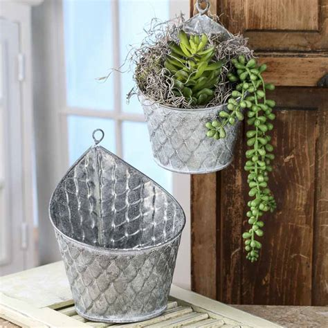 galvanized hanging planters baskets buckets boxes