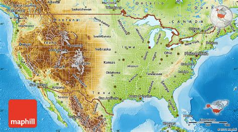 physical map of the united states for risk assessment and management program emergency