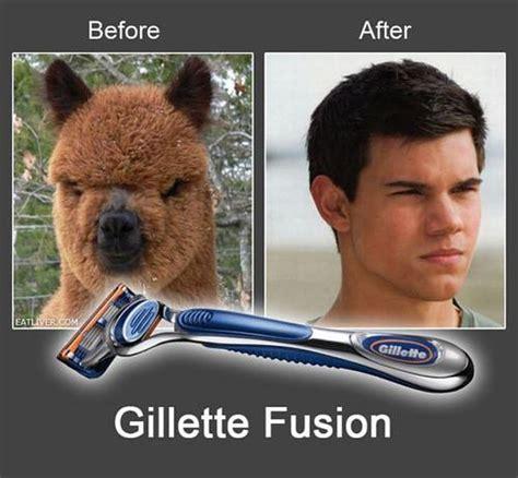 Taylor Lautner Meme - gillette fusion funny