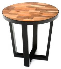 designer accent tables round reclaimed wood end table modern contemporary style