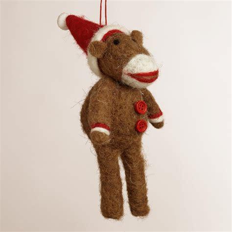 Sock Monkey Ornaments - felt sock monkey ornament world market