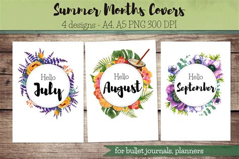printable monthly journal covers summer months covers for bullet journal planner hello july