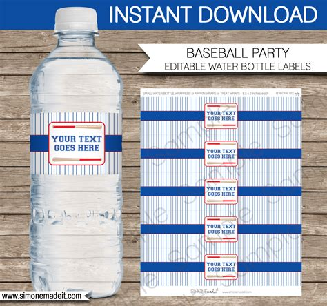 Baseball Party Water Bottle Labels Birthday Party Personalized Water Bottle Labels Template