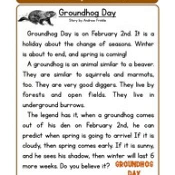 groundhog day meaning for preschoolers groundhog day reading comprehension worksheet