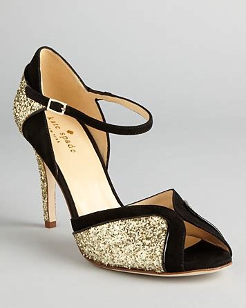 gold and black high heels lyst kate spade new york peep toe evening sandals