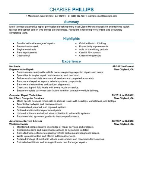 Mechanic Resume Template Entry Level Mechanic Resume Exles Created By Pros