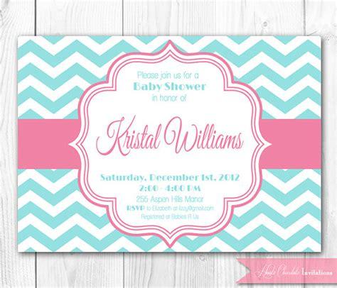 chevron printable invitation template baby shower invitation pink aqua by hautechocolatefavors